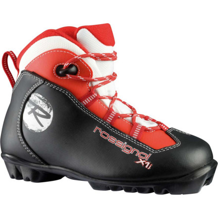 Ski Help your little skier hit the trails and beyond with the easy Rossignol Youth X1 Junior Touring Boot. The X1 laces up just like a pair of shoes, and your kids foot easily slides into the flexible upper cuff so they can get ready on their own. Once you hit the track, the NNN sole stabilizes their kicks and glides so theres more skiing and less struggling. When theyre confident enough to follow you into the woods, the nylon and metal-reinforced midsole provides a stable platform for off-trail terrain. - $39.98