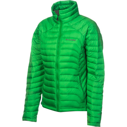 Camp and Hike Treat yourself right with the Columbia Women's Powerfly Down Jacket. Packed with 800-fill down insulation, this toasty jacket keeps you warm while you camp beneath the stars, enjoy the cold mountain air, or stroll through the ski base area. Its feminine cut flatters and means it's easy to layer your weatherproof shell over top when the snow really starts to come down. - $131.97