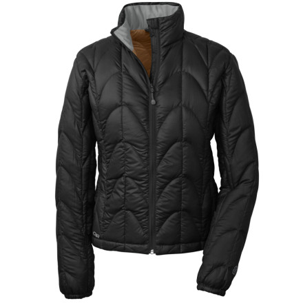 Outdoor Research designed the Womens Aria Down Jacket to keep heat in whether you are using it as a warmth-trapping outer-layer on cold, clear days or utilizing the cold-blocking power of 650-fill down under a shell when things get wet. The standard fit is comfortable without being overly bulky so you can enjoy all of the toastiness of down without looking like a marshmallow. - $89.98