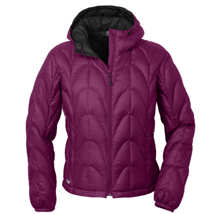 Designed to provide versatile warmth during long-distance treks, backcountry adventures, and alpine climbs, the Outdoor Research Women's Aria Down Hooded Jacket features 650-fill down insulation and a lightweight construction for the ultimate in all-around functionality. - $119.37