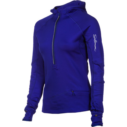 Fitness Keep the Salomon Women's Swift Midlayer 1/2-Zip Hoodie in your gear bag and you'll always have the perfect hoody for some cold-weather running or endurance training. This top uses softshell material that offers unrestricted movement thanks to flexible construction, and the fabric breathes away excess heat and moisture to keep you comfortable. Small details like a watch window and thumb loops make this an ideal top for women who need to move fast no matter how long the temperature drops. - $83.97
