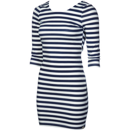 Surf The super-sexy, body-con Billabong Women's Dance With Me Dress has its fun with sporty stripes, crossed back, and three-quarter sleeves. No doubt about it, this dress is a hot number, but its joie de vivre makes it versatile enough for a beach party or BBQ. - $41.36