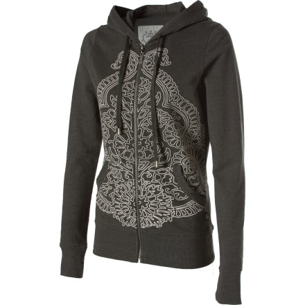 Whether you're off to watch the fireworks or heading to the ball park, toss on the prAna Women's Mandie Hoodie. This relaxed-fit hoodie has a laid-back look that dishes out casual comfort when the cool of the evening sets in. A purr-worthy French terry weave keeps you cozy, while the Mandie's decorative print lends an eastern look. - $37.48