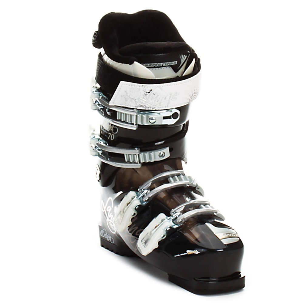 Ski Lange Exclusive Delight 70 Womens Ski Boots - The Exclusive Delight 70 is a perfect boot for athletic beginner to intermediate skiers that want a solid but relaxed boot. The Delight 70 has a roomy toe box with a firm heel hold that balances comfort with a responsive feel. When combined with a 70 flex shell and the Natural Stance it becomes a very forgiving boot with an upright stance to help with balance and allow you to progress better and more quickly. This combination also develops a rebound energy which is less fatiguing but also quite responsive when it is skied more aggressively so as you improve the boot continues to be supportive. There's a plush version of the Control Fit liner for good cushioning and comfort with a goose down liner making it one of the warmest boots available. The liner is also scalloped in the calf area to fit lower set calves and offer better circulation which improves warmth. Lange even coated the buckles of the Delight 70 with a rubber layer for easier closure, which also means they don't feel cold if you need to re-adjust them throughout the day. So the Exclusive Delight 70 is a comfort boot that hasn't forgotten how to perform so it can help take beginner to intermediate skiers to the next level. . Actual Flex: 70, Cuff Alignment: Single, Warranty: One Year, Special Features: Natural Stance, Special Features: Control Fit Liner, Flex: Medium, Used: No, Ski/Walk: No, Prewired For Heat: No, Number of Micro Buckles: Four, Flex Adjustment: No, Buckle Material: Aluminum, Instep Height: Standard - $169.99