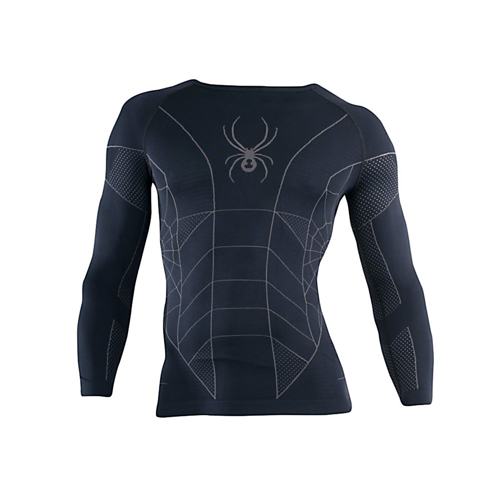 Ski Spyder Skeleton X-Static LS Mens Long Underwear Top - The Spyder Skeleton X-Static Long Sleeve Top is your first layer of warmth. This medium compression fit garment hugs you like a protective skin - as it lays over you like a coating of warmth. The anatomically designed fit contours the exact shape of your body and compress core muscle groups - The Skeleton Baselayer is your winter skin. . Fit: Compression, Warranty: Lifetime, Material: Synthetic, Weight: Mid, Type: Top, Neck: Crew, Model Year: 2013, Product ID: 288325 - $79.95
