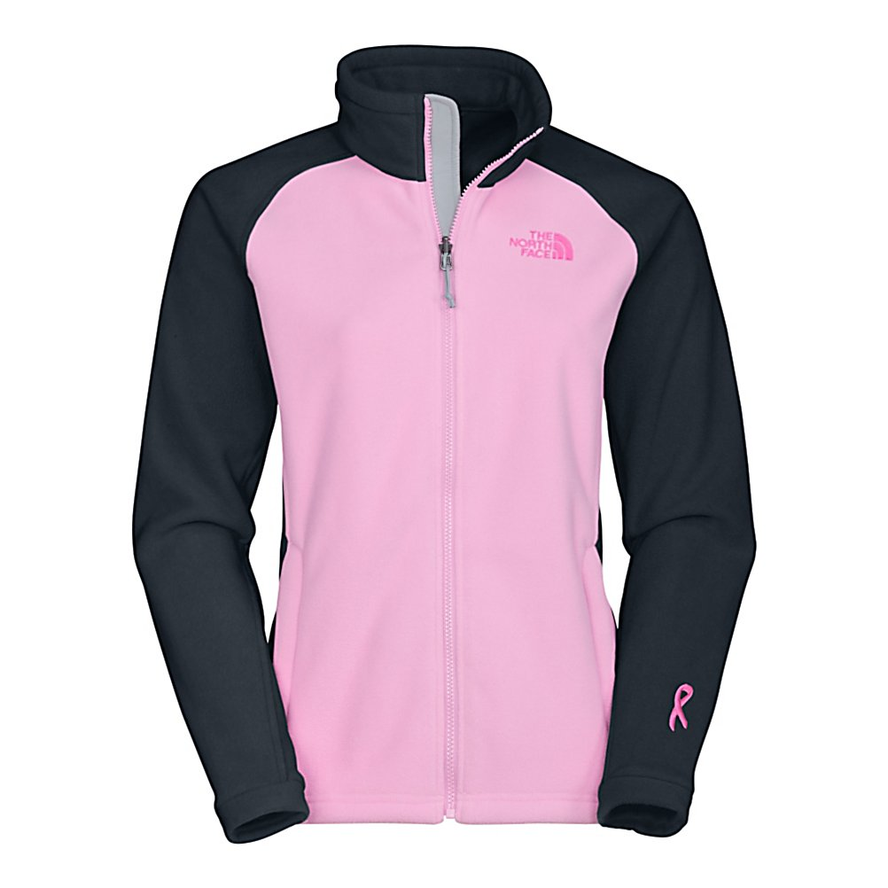 Ski The North Face Pink Ribbon Khumbu Fleece Womens Jacket - The North Face Khumbu Jacket says it all with its name derived from the region notorious for spectacular mountain peaks, The Khumbu Jacket is ideal to sport on cool to cold-weather journeys. Made with a durable, midweight TKA 300 fleece, this versatile fleece jacket offers protection for a range of activities. This fleece is a zip-in compatible with The North Face outerwear for additional coverage. Boarding for Breast Cancer is a non-profit, youth focused education, awareness and fundraising foundation. Recognizing the importance of this mission, The North Face has teamed up with them to create a unique collection of stylish, high performance fleece and will make an annual donation to help support their journey to educate and inspire young adults. Features: Two hand pockets. Hood: No, Warranty: Lifetime, Model Year: 2013, Product ID: 231140, Shipping Restriction: This item is not available for shipment outside of the United States., Pockets: 1-2, Wind Protection: Yes, Type: Full Zip Top, Fleece Weight: Mid, Insulation Weight: 300g - $90.00