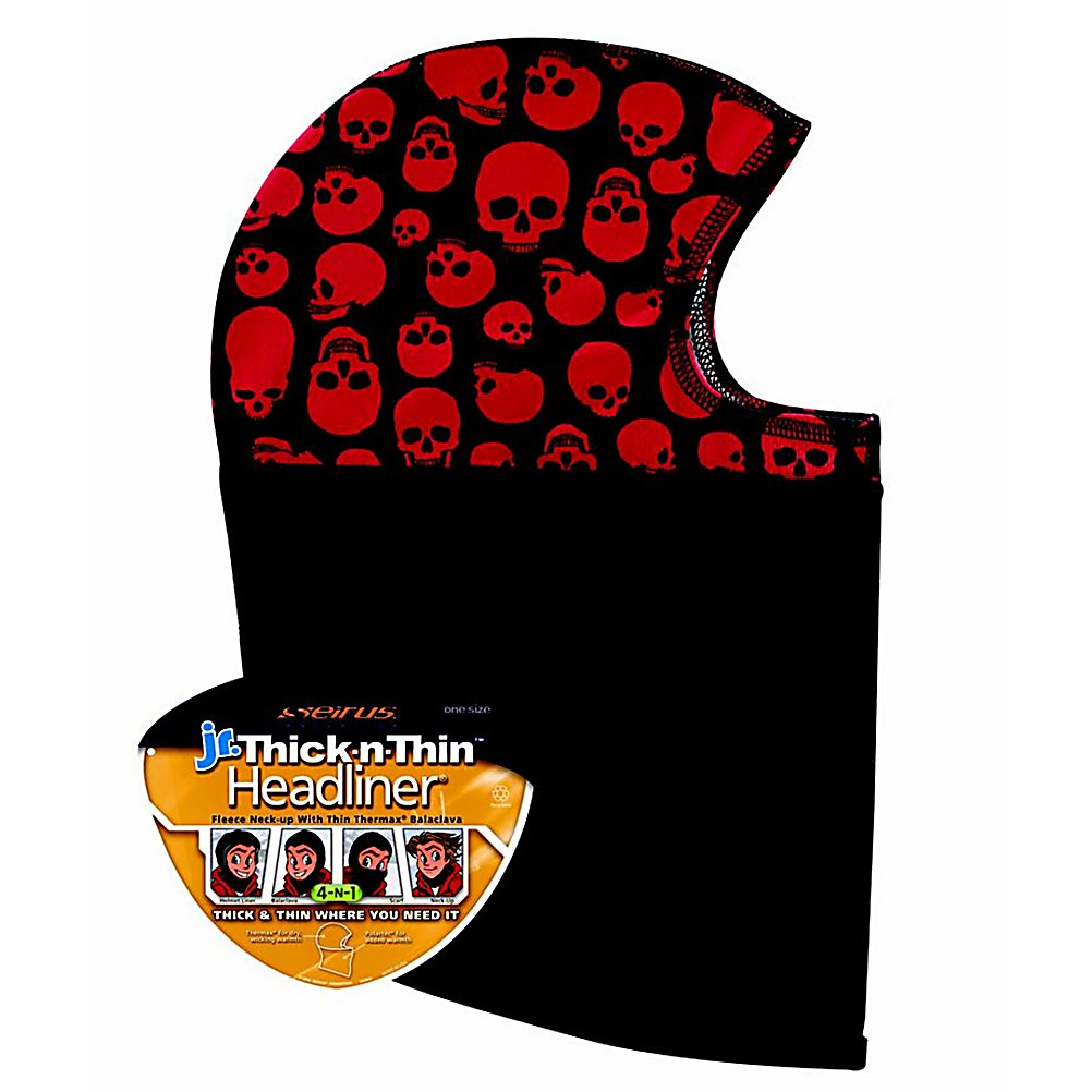 Ski Seirus' Thick-N-Thin Kids Balaclava is a moisture wicking, ultra thin Thermax hood combined with a technical fleece neck gaiter. A multi purpose ski piece, this head liner may be warn as a hood with facemask, balaclava or just a neck warmer. This head liner is perfect for wearing with a helmet or under a hat for extra warmth.  Thermax wicking hood with technical fleece neck warmer,  Four way stretch upper,  Easy to care for instructions,  Material: Fleece, Type: Balaclava, Model Year: 2017, Product ID: 288553, Model Number: 2218.3.0790, GTIN: 0090897013634 - $19.99