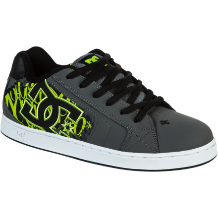 Skateboard Ignoring the common idea that a good thing can't be made better, DC added to the classic style of the Net shoe on the Men's Net SE Skate Shoe. The trademark DC symbol on the outside features special edition color and style patterns. Stripes in the DC logo or print in and around the logo add a little extra skeezery to the classic look. - $52.00