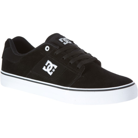 Skateboard The super-slim DC Bridge Skate Shoe offers tons of board feel and great grip, thanks to vulcanized construction and DC's trademark pill-pattern outsole. Not to mention the price makes 'em easy to replace after a few thousand ollies wear a hole in the toe (hey, it happens). - $44.00