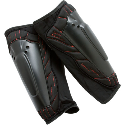 Snowboard The Demon Snow Deluxe Shin Guard gives you low-profile protection for that oh-so-sensitive lower-front-of-leg area. Demon Snow capped the foam-padded base of this guard with an ABS shell that shields your shins from handrails, snowmobiling hazards, and soccer players. - $19.96