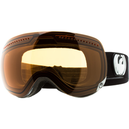 Ski Double-wide would be an adequate way to explain the Dragon APX Goggle. This goggle sports a lens so large that Dragon's engineers decided to let the lens completely overlap the edges of the goggle frame, and that means ultimate peripheral vision. And because winter often involves sweaty hikes and blinding bluebird days, the lens of this behemoth was finished with a fog-busting internal coating and 100% UV protectionit doesn't get any better. - $92.97