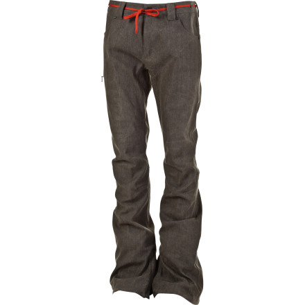 Snowboard The L1 Premium Skinny Denim Pant lets you run the denim look you want on the hill without leaving you cold, wet, and shivering after a few bails. Waterproof, breathable fabric is pre-washed and over-dyed to give each pair a unique look, and the skinny stretch fit features articulated knee zones to let you move comfortably. - $142.97