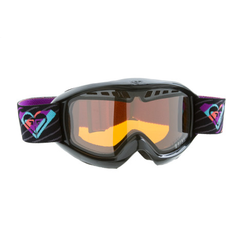 Snowboard The Roxy Women's Broadway Goggles give you a distortion-free view so you can spot those bumps before you catch an edge on one. The propionate double lenses resist fog and scratches so you can see where you're going as you zoom through the trees. These durable lenses are also shatter-resistant for safety and perforated for ventilation. - $49.50
