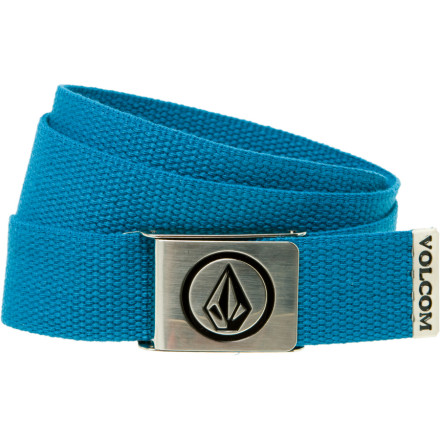 Surf Tired of bustin' a sag Pull your pants up and look all-grown-up with the Volcom Circle Stone Webbing Belt. Believe it or not, not everybody wants to see your ass. - $12.95