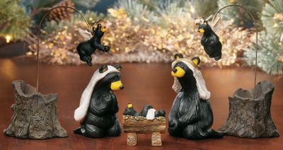 "Entertainment Celebrate the first Christmas with adorable little bears acting out the story. Each set has the bears posing as different characters in a traditional Bethlehem nativity scene. Each depiction is lovingly made to express the joy and giving associated with Christmas. Beartivity I: 5-piece (Father: 3""H, Mother: 3-1/2""H, Baby: 2-1/4""H, 2 Angels: 6-1/2"" H)Beartivity II: 5-piece (King: 5""H, Shepherd: 6""H, 2 Sheep: 3-1/2""H, Camel: 3""H)Beartivity III: 4-piece (2 Kings: 6""H, Drummer Boy: 2-3/4""H, Cow: 4""H) Type: Nativity. Beartivity (I). - $69.99"