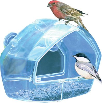 Camp and Hike Get an up-close view of the wildlife in your neighborhood with this crystal-clear window-mount bird feeder. Easy to fill and clean. Holds up to one cup of birdseed and attaches to any window or other smooth surface. Birds can easily access the seed thanks to the feeders open basin. - $6.99