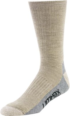 Everyday socks that your feet will appreciate. Luxurious blend of 47% merino wool, 23% stretch nylon, 19% Dri-Release , 9% CoolMax and 2% Lycra . Dri-Release uses a patented blend of natural fibers and synthetic fibers. In this case, 85% polyester and 15% cotton. Fine-gauge merino wool feels soft across the tops of feet, and it won t shrink or itch. Vent zones along tops and above heels team up with Dri-Release bottoms for moisture management that keeps feet dry and blister-free. And the added Fresh Guard keeps feet odor-free. Comfortable cushioned footbeds and toes. Stay-put elastic tops won t sag or fall. Reinforced heels and toes for long wear. Elastic arch supports. Seamless toe area. Made in USA.Sizes: M(6-8), L(9-12), XL(13-15). Approved for Cabela s waterproof, breathable footwear. - $3.88