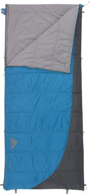 Camp and Hike Enjoy a comfortable nights sleep in warm weather with this versatile, lightweight bag. The top side has cozy Cloudloft insulation and the bottom has a breathable flat sheet simply turn the bag over for the perfect amount of comfort. Can be fully unzipped and opened flat for use as a blanket. Insulated side rated to 50F; flat-sheet side rated to 70F. Sleeping-pad security loops on corners. 50-denier polyester ripstop shell with polyester/cotton liner. Includes stuff sack. Imported.Size: 80L x 34W. Temperature rating: 50/70F. Fill weight: 12 oz.Carry weight: 1 lb. 14 oz. - $54.95
