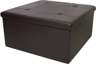 Entertainment Double-walled for extreme durability, this faux-leather ottoman is built to last with a 200-lb. weight limit and cushioned lid. Use it as a footstool, for extra seating or out-of-sight storage. The added convenience of the internal storage area lets you store games, throw blankets, files and more without anyone knowing the better. The best part? It collapses down to be stored flat when not in use, making it well suited for RVs, dorms and smaller spaces. Contrast stitching. Wipes clean with a damp cloth. Imported.Dimensions: 16H x 32W x 32D.Colors: Brown. - $29.88