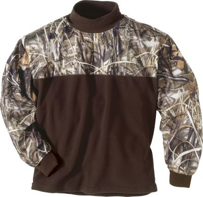 Hunting Eqwader garments have the superior combination of features needed both above and below your waders to keep you comfortable and minimize the layers of clothing you wear to the blind. This Mock T-Neck has an upper chest, shoulders and arms made of fleece that's been overlaid with waterproof, windproof, breathable microfleece. Below the chest, soft fleece offers maximum breathability and moisture management. You'll still have half the neck coverage in this convenient Mock T-Neck. Neoprene cuffs. Imported. Sizes: M-3XL. Camo patterns: Mossy Oak Duck Blind , Realtree MAX-4 . - $74.99