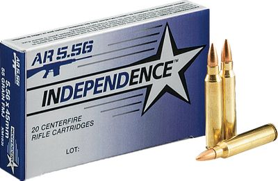 Hunting This Independence ammunition is loaded to military specifications. This 55-grain FMJ boattail ammunition offers high-volume shooters an affordable and dependable option for semiautomatic firearms. - $11.99