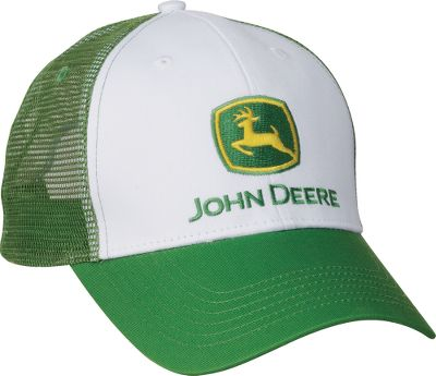 You can never have too many hats, especially when it comes to John Deere. Show your loyalty to one of the worlds best know brands of work and farm equipment. Embroidered logo on front. 100% cotton twill with mesh back. Hook and loop adjustment. Imported.One size fits most.Color: White/Green. - $6.99