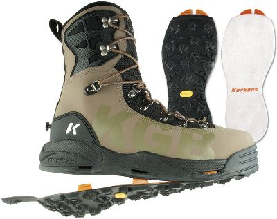 Flyfishing KGB Wading Boots offer Korkers guide-level performance and the quick-draining, traction-changing OmniTrax Interchangeable Sole System 3.0. Quickly and easily adapt your traction to match with the streams and rivers you encounter. Simply snap secure the Vibram Idrogrip and felt outsoles to your boots and youre ready for slick, moss-covered rocks and other slippery conditions. Apply the studded Vibram Idrogrip outsole for strong footing while walking jagged and rocky river bottoms. High-grade 2mm rubber bodies surrounded by hydrophobic mesh keep water out, and they shed water for less water weight. Integrated, durable and lightweight TPU cages support ankles for enhanced stability on uneven surfaces. Frictionless cuffs and linings deliver easy on and off. Super-strong laces and rustproof metal rings create a two-zone lacing system for a snug, customizable fit. Molded heel caps and Vibram outsoles provide support, comfort and protection for all-day hikes on uneven terrain. Includes felt and Vibram Indrogrip outsoles. Imported.Height: 10.Average weight: 3.38 lbs./pair.Mens whole sizes: 8-13.Color: Kangaroo. - $189.88