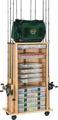 Fishing The lacquered hardwood cabinet on this rod rack makes it elegant, sturdy and functional. Accommodates up to a dozen rod and reel combinations. Rubber clips hold rods securely and safely in place. Wheels provide easy movement, yet the cabinet can be securely locked. Unique wire frame holds up to 14 3600/3700 series utility boxes for lures and baits (boxes not included). Easy to assemble. Imported. Dimensions: 35-1/2H x 21-1/4W x 12-3/4D. - $79.88