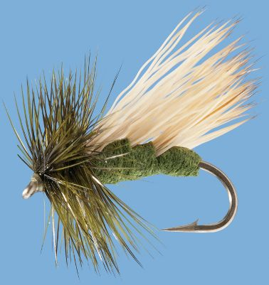 Flyfishing A caddis fly with a unique three wing design that provides high float and large profile for increased visibility. Per 2. Sizes: 12, 14, 16. Colors: Black, Tan, Olive. Color: Olive. Type: Dry Flies. - $4.99