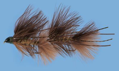 Flyfishing Conehead streamer pattern and articulated body closely resemble baitfish for attracting large trout. Per each. Size: 2. Colors: Black, Brown, Olive. Color: Olive. - $6.29