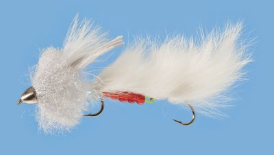 Flyfishing Conehead streamer articulated body is a baitfish pattern great for catching big trout. Per each. Size: 6. Colors: Black, White, Olive. Color: White. Type: Streamers. - $4.49