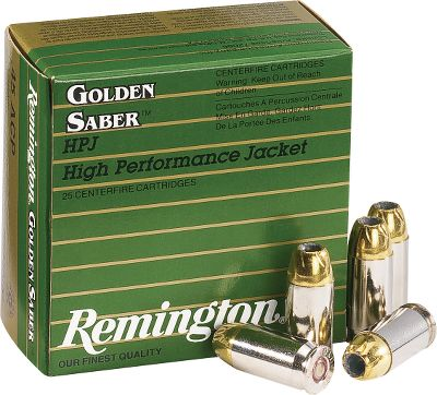 Guns and Military Remington pulled out all the stops to design the Golden Saber. They combined the newest technology in jacket development with a computer-designed fluted hollow point to provide a combination of match-grade accuracy, deep penetration, maximum expansion and near 100% weight retention. Golden Saber High Performance ammunition is a great choice when the stakes are at their highest. Nickel-plated casing for smooth feeding. Triple-inspected primers. Per 25. - $17.88