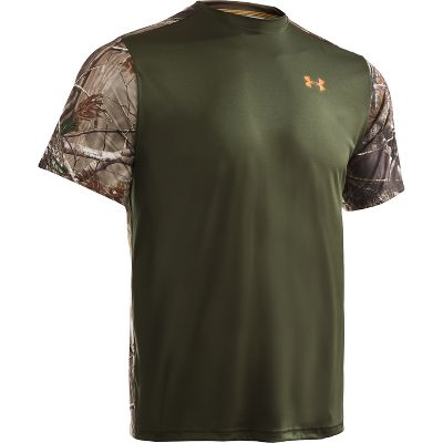 Hunting Performance-driven, camo-accented short-sleeve crews boast moisture-transporting HeatGear technology to deliver cool, quick-drying comfort. ArmourBlock bacteria-neutralizing technology controls odors. Made of 100% recycled polyester. Imported. Sizes: M-2XL. Colors/Camo patterns: Hearthstone/Realtree MAX-4 , Rifle Green/Realtree AP , Hearthstone/Mossy Oak Duck Blind , Rifle Green/Mossy Oak Break-Up . - $18.88