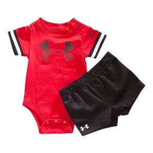 Entertainment Soft, combed cotton bodysuit fabric mixes extreme comfort with durable performance wearTextured mesh shorts deliver lightweight breathability and superior comfort for your little manSignature Moisture Transport System wicks away sweat, keeping him dry and comfortableBodysuit's 2-snap shoulder and 3-snap bottom design allows easy on/off Shorts' covered elastic waistband provide a comfortable, stretchy fitFunctional side pocketsSoft screen print UA fade logo leaves low hand feel for total comfortBodysuit: CottonShorts: PolyesterImported - $32.99