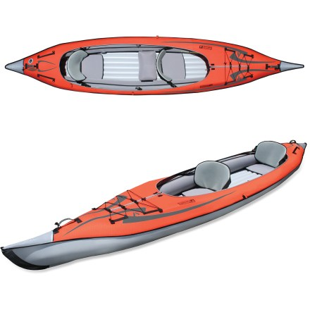 Kayak and Canoe With a rigid bow and stern plus a multi-chamber inflatable hull, the AdvancedFrame Convertible Inflatable Kayak offers performance and portability for one or two paddlers. - $799.95