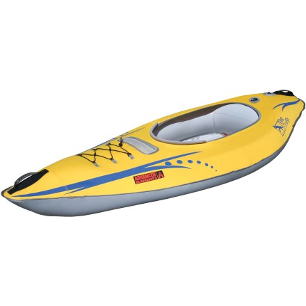 Kayak and Canoe Take out the Advanced Elements Firefly(TM) inflatable kayak with the family and enjoy your time on the water. Perfect for lazy days on slow-moving rivers or stillwater, the Advanced Elements Firefly inflatable kayak is very stable and fun to paddle. The Firefly sets up quickly, and its 7 ft. 10 in. length is compact enough to take along for an adventure just about anywhere. Constructed of durable materials to provide superb puncture resistance; welded perimeter seams ensure long life. Rigid bow and stern reinforcements slice gracefully through water; tracking fin is molded into the hull to improve handling and landing plate increases durability. Easy-to-use Spring(TM) and Twistlok(TM) valves are compatible with most pumps and speed setup time. Bungee deck lacing lets you stow gear easily; molded, low-profile rubber handles allow smooth transport of the 16 lb. kayak. Includes duffel bag, repair kit and instruction manual. - $239.95