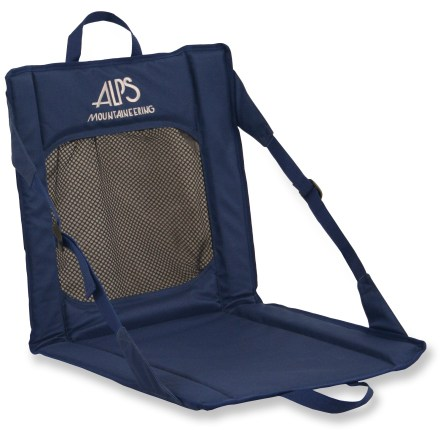 Camp and Hike ThE ALPS Mountaineering Mesh Weekender Packable chair works equally well for campsites and bleacher seating at your favorite sports games. Mesh pocket on back of chair and organizer pockets on the front hold pens, paper, travel games, lip balm, insect repellant-you name it! Durable 600-denier polyester cushioned with closed-cell foam provides comfortable insulation from cold surfaces; mesh panel rests against your back, offering great airflow. Sturdy, lightweight fiberglass stays offer dependable support. Side webbing straps with quick-release buckles adjust your sitting position. Lightweight and packable, with handles for easy carrying. Special buy. - $19.73