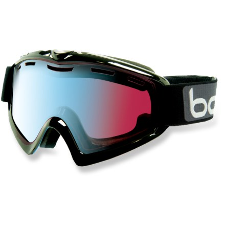Ski The Bolle X9 OTG snow goggles fit over most prescription eyewear and offer a versatile photochromic lens to ensure great optical performance when conditions vary. Modulator Vermillon Blue photochromic, rose-tinted lens reacts to available light, allowing 66% to 26% visible light transmission for excellent visibility in most conditions. Double-lens construction that creates a thermal barrier between the cold air outside and the air within the goggles helps prevent condensation from forming. Industrial-strength coating helps prevent fogging and reduces scratches without hindering optics. Lens vents and specialized ports in frame optimize airflow over the inside surface of lens to reduce fogging. 2 layers of multidensity foam are topped with soft fleece for next-to-skin comfort and a precise fit. Bolle X9 OTG snow goggles are optimized to fit over most prescription glasses and accommodate medium- to large-size faces; helmet compatible. - $89.95