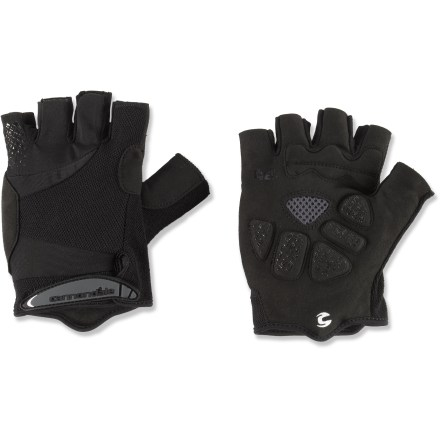 Fitness Gel bike gloves from Cannondale were made for long-distance riding and the pounding abuse of cobblestone roads. Gel palm inserts placed at key pressure points absorb road shock and vibration; synthetic leather palms enhance durability. Mesh backing increases breathability and feels soft against the skin. Terrycloth thumbs provide a wiping surface with excellent moisture absorption. Cuffs feature flexible rip-and-stick closure tabs that allow you to personalize the fit. - $19.93