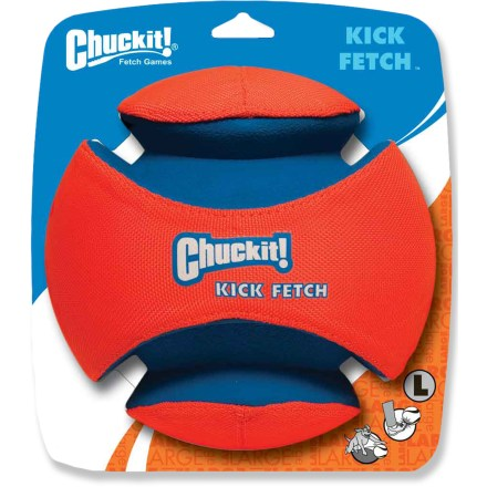 Camp and Hike The Chuckit! Kick Fetch dog toy gives your tired arms a rest at the dog park--give the toy a solid kick to send it flying and your pup charging after it. - $30.00