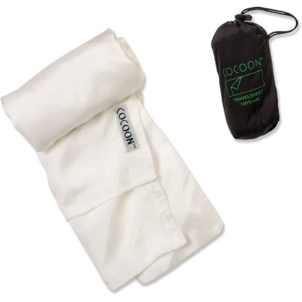 Camp and Hike This Cocoon Silk Travelsheet sleeping bag liner can be used as a sleeping bag for warm weather, or simply a sleep sack for traveling. Soft, breathable and resilient, silk is the ultimate in comfort to help keep you dry and warm. Ideal for hostels and handy in adventure hotels, most of the time it will be everything you need sleeping to the tropics. Used as a liner for a rectangular sleeping bag, the Silk Travelsheet protects and keeps the bag clean; adds 9.5degF to the temperature rating. Cocoon Silk Travelsheet features a side opening with rip-and-stick closure and a pillow pocket. Completely double-stitched with reinforced gussets, the Silk Travesheet is durable, comfortable and machine washable. Cocoon Silk Travelsheet packs down small into the included drawcord storage bag. - $59.95