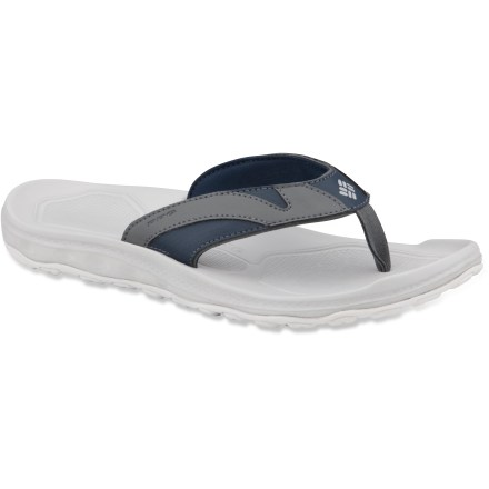 Entertainment These Columbia PFG Techsun III flip-flops will let you focus on the fun and not your feet. Flip-flops feature durable construction that's built to last season after season. Techsun PFG flip-flops feature stretchy synthetic leather uppers backed by soft jersey linings to prevent chafing. Molded EVA midsoles offer shock protection; EVA topsoles feature a textured, nonslip surface to keep feet from sliding around on the footbed. Dual lug patterns on the Omni-Grip(R) sticky rubber outsoles offer great traction on both wet and dry surfaces. PFG stands for Performance Fishing Gear. Closeout. - $13.73