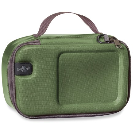 Entertainment Small and mighty, this Eagle Creek Pack-It Protech Cube protects your electronics and valuables during business trips and international treks. Molded foam top, fleece lining and structured sides offer excellent protection for electronics and other valuables. Small size fits most compact digital cameras, GPS units and chargers. Removable interior dividers let you customize the inside. Clamshell zipper opens wide for easy access; top handle makes for grab-and-go convenience. - $17.93