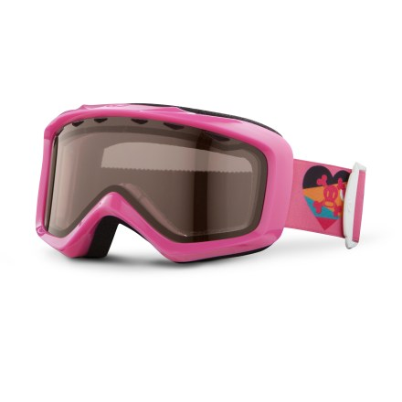 Ski Giro Grade girls' snow goggles pack a lot of performance into the pint-size frames, enabling young shredders to see better when carving turns. Youth size offers a wide field of vision and ensures a solid fit with helmets. Vented, dual lens and antifog coating reduce moisture buildup in goggles. Plush face foam seals out the elements and is finished with a wicking microfleece. Amber Rose lens heightens detail and increases contrast in flat light; allows 40% visible light transmission. The Giro Grade goggles block 100% of the sun's harmful UV rays. - $35.00