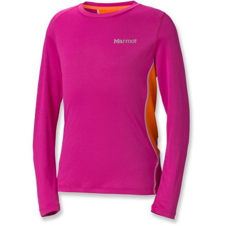 The Marmot Outlook Top adds style and function to any girl's wardrobe; breathable polyester materials and contrasting colors appeal to her athletic side and offer top-notch performance. Lightweight, breathable polyester is soft against her skin and guards against sun exposure with integrated UPF 50+ protection. Marmot Outlook Top is quick-drying and wicks away moisture while mesh panels on sides and back increase breathability for long-lasting comfort during activity. Angled shoulder seams reduce irritation when carrying a pack. Droptail hem provides extra coverage in back. - $20.93