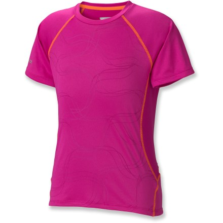 Any girl will be enthusiastic about outdoor activities when she gets to wear the Marmot Crystal T-Shirt; bright design and comfortable materials will definitely put this tee on her top shelf. Polyester jersey and mesh provide comfortable coverage during warm weather or aerobic activity; quick-dry and wicking capabilities keep her dry when working hard. Mesh panels wrapping from back to sides increase breathability and ensure she stays cool in warm conditions. Fabric has built-in UPF 50+ sun protection, minimizing sun exposure while spending time outside. Raglan sleeve style allows full mobility and reduces chafing while carrying a pack. The Marmot Crystal T-Shirt makes comfort a top priority with a tag-free neckline that reduces irritation. - $18.93