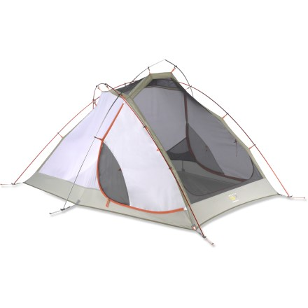 "Camp and Hike A superb tent for summer slumbers. The Mountain Hardwear Hammerhead 2 tent is a great choice for backpackers looking for a versatile tent that's ready for any situation. Tent features a zip out panel for a lighter, more packable configuration; leaving the panel behind takes 4 oz. off the trail weight. Or keep the panel for more protection and greater privacy. Sturdy 3-pole design offers great livability for 2 backpackers; clips, color-coded pole loops and reflective starter point ensure easy setup. No-see-um mesh doors and panels maintain ventilation to prevent interior condensation; large mesh sky panel rolls back for views and venting in nice weather. Opposing double-slider door zippers make variable venting easy. Rainfly's clear SVX film window adds light and a view outside; 2 vents ensure proper airflow in all kinds of weather. When the weather is ""iffy"" but you still want a view and ventilation, roll up the rainfly's front side for limited exposure. Dry-entry vestibule design prevents water from dripping inside tent when vestibule is open so you don't get soaked. Atlas 7001 Yunan poles are lightweight, corrosion- and dent-resistant and completely field serviceable by hand. For extra stability, each guyout point clips to the frame on the interior side of the rainfly via welded attachment points. All guyout loops are reflective for easy identification and canopy pockets keep tent organized. Hammerhead 2 features superlight buckles and webbing to save weight. Mountain Hardwear Watertight Construction: Thoughtful design, taping and welding technology combine to make this tent watertight off the shelf. No seam sealing is required. Save weight and create a minimalist shelter by using just the rainfly, footprint (not included), poles and stakes. Comes with stuff sacks, stakes and guyline/tighteners. Closeout. - $107.73"