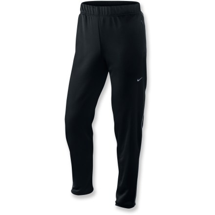 Fitness Just like your old high school warm-up pants but updated with new fabric, the Nike Tight Knit Track pants combine easy comfort with expert performance. Dri-FIT(R) polyester jersey fabric wicks sweat and dries quickly; back-of-knee panels enhance ventilation. Elastic drawcord waist with internal drawcord ensures a comfortable fit. Reflective leg zips at cuffs boost visibility in low light and make it easier to put pants on over shoes. Can't run without some energy gel? Stash a packet in the zippered lumbar pocket. The Nike Tight Knit Track pants are semifitted. - $44.93