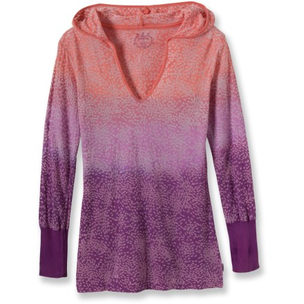 Fitness The prAna Julz Hoodie top features an attractive lotus-print, lightweight fabric and long sleeves. It's perfect for cool spring yoga sessions. Cotton polyester blend fabric creates a soft and flowing top that feels great and breathes well. The prAna Julz Hoodie top features a solid rib trim at neckline and sleeve cuffs. - $70.00