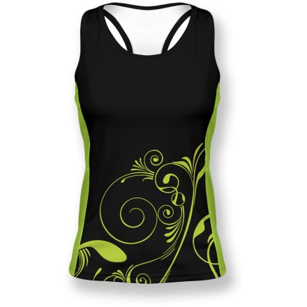 Fitness The Primal Wear Modest Gemini tank top bike jersey boasts strong graphics and technical fabric to keep you cool and comfortable, mile after mile! Speed-Pro(R) polyester fabric forces moisture away from body and pulls it to the surface to dry. Sublimated graphics are brilliantly bold yet do not inhibit breathability. 3 back pockets hold your energy food and other essentials. Droptail hemline gives complete coverage in back. Closeout. - $34.93